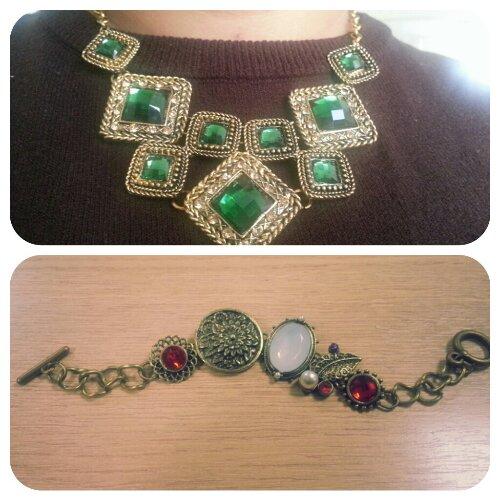 Colar esmeralda e pulseira retrô! MiniInTheBox